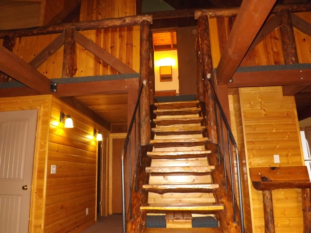 Cabin 15 staircase to bathroom
