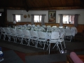 Wedding pictures - rectangle tables inside Hogan