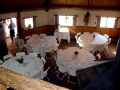 Wedding pictures - round tables inside Hogan
