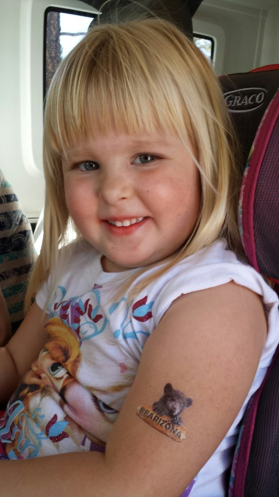 This is Gracie showing off her Bearizona tattoo